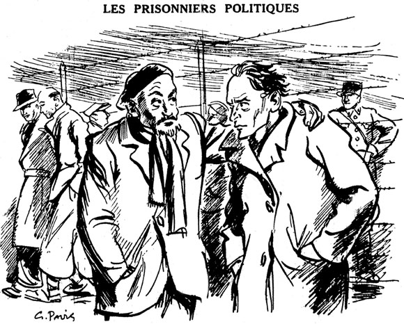 """A cartoon by Gaston Pavis from the 3rd September edition of La France au Travail. One political prisoner asks another """"And you, what is your crime? To which he replies """"I was caught!""""  It shows"""" political prisoners """"who were arrested in Paris Military Prison on the orders of Mandel and find themselves, from June 21, 40, temporarily interned at Gurs camp."""
