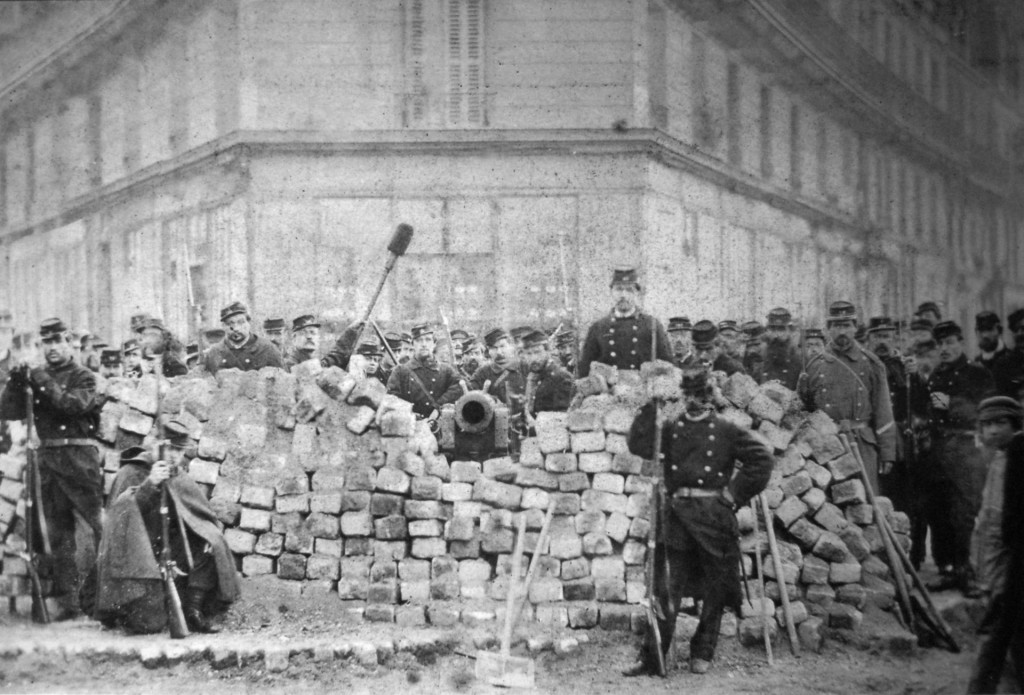 A barricade on Rue Voltaire, after its capture by the regular army during the Bloody Week that led to the creation of the Paris Commune.
