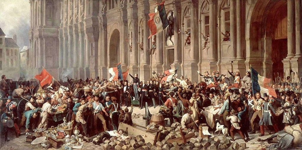 Lamartine in front of the Town Hall of Paris rejects the red flag on 25 February 1848. Art by Henri Felix Emmanuel Philippoteaux