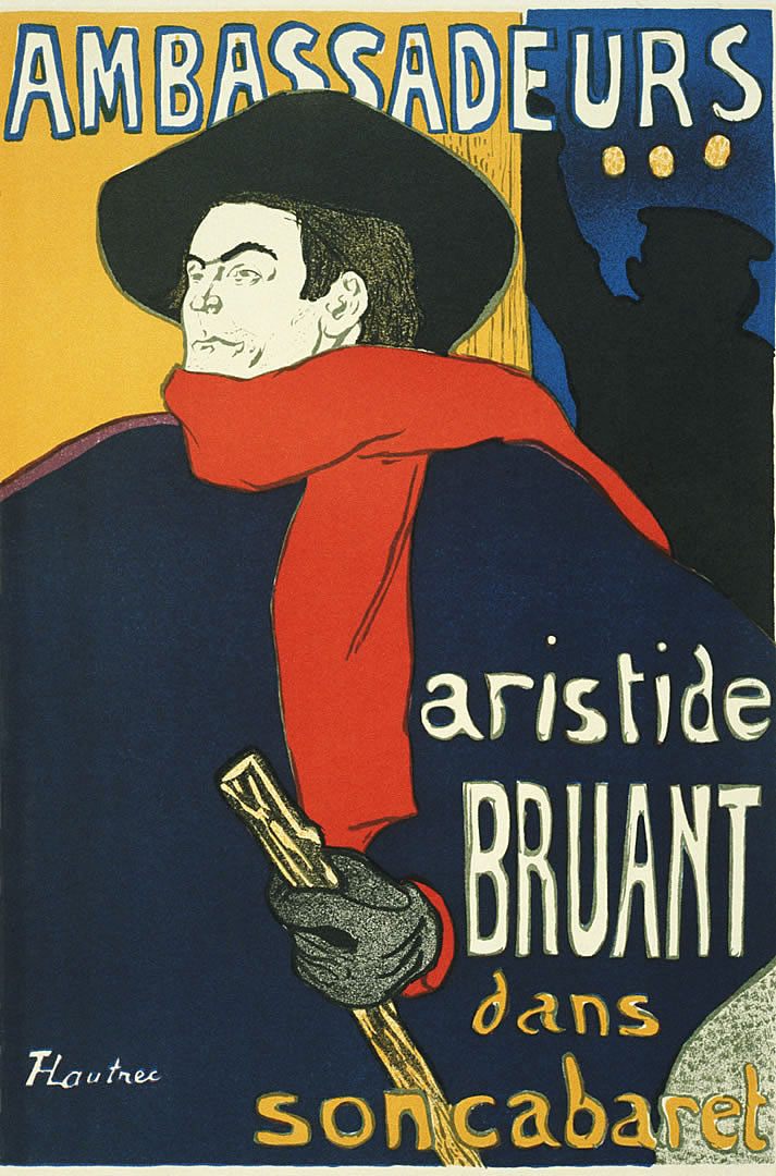 This famous 1892 poster advertises Aristide Bruant's debut at the Ambassadeurs, a much more upscale venue than his own club, Le Mirliton. The manager of the Ambassadeurs hated the poster, and Bruant had to threaten to cancel his engagement unless it was used. The manager conceded, but Lautrec never did receive his fee.